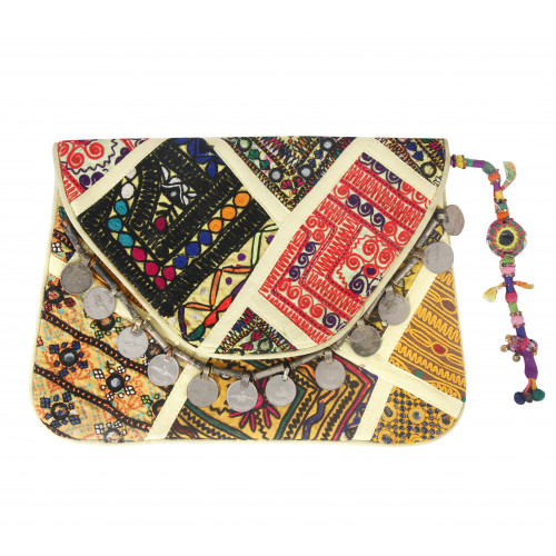 Rajasthani Jaipuri Traditional Multicolor Embroidered  Clutch Hand Bag Hand Purse(GREEN PEACH)