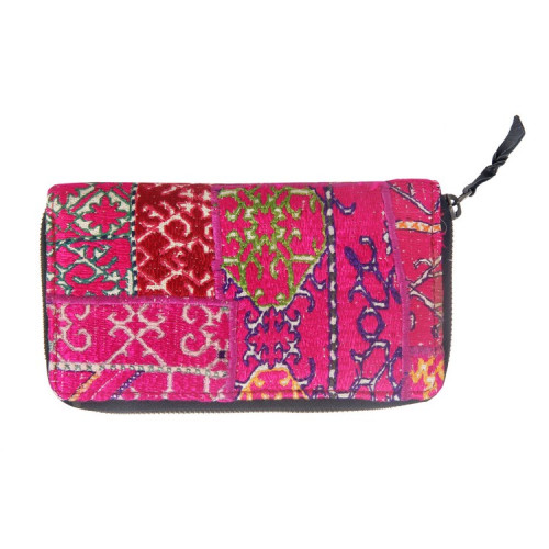Rajasthani Jaipuri Traditional Multicolor Embroidered  Clutch Hand Bag Hand Purse(DARK PINK)