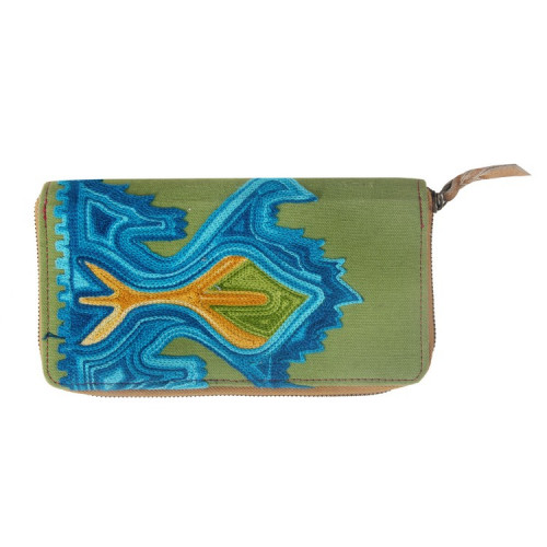 Rajasthani Jaipuri Traditional Multicolor Embroidered  Clutch Hand Bag Hand Purse(GREEN BLUE)