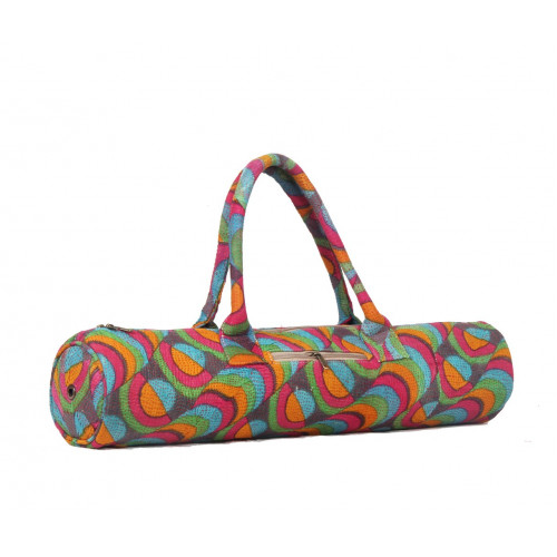 Vintage Kantha Pattern Cotton Canvas Exercise Fitness Yoga Bag (MULTICOLORED LINES)
