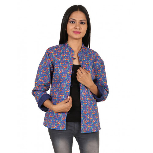 Jaipur Textile Hub Women's Quilted Cotton Indian Style Hand Block Print Boho Floral Reversible Jacket (CERULEAN)
