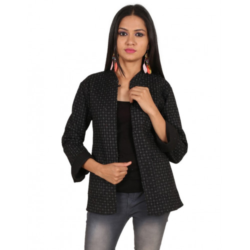 Jaipur Textile Hub Women's Quilted Cotton Indian Style Hand Block Print Boho Floral Reversible Jacket (BLACK)