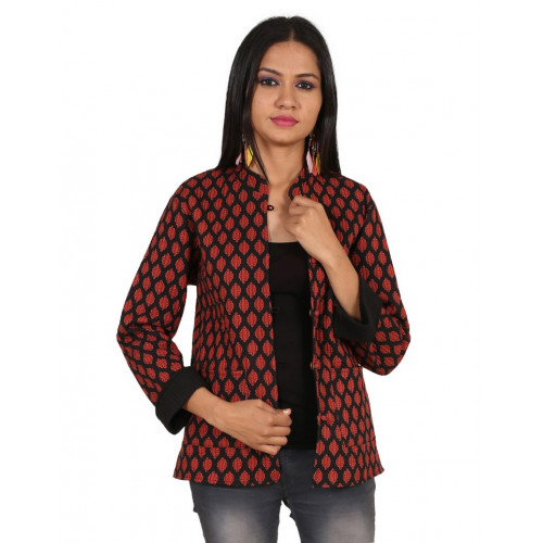 Jaipur Textile Hub Women's Quilted Cotton Indian Style Hand Block Print Boho Floral Reversible Jacket (RED&BLACK)