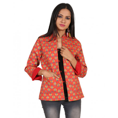 Jaipur Textile Hub Women's Quilted Cotton Indian Style Hand Block Print Boho Floral Reversible Jacket (CORAL)