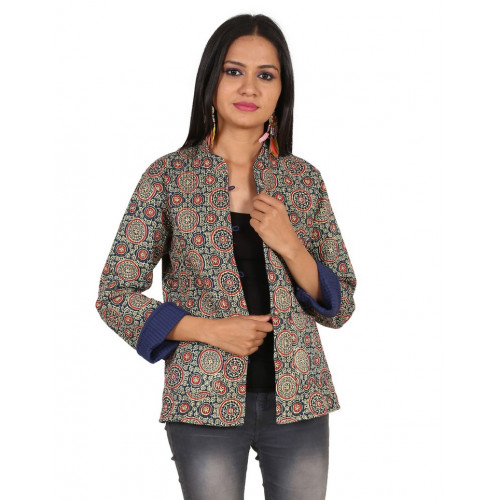 Jaipur Textile Hub Women's Quilted Cotton Indian Style Hand Block Print Boho Floral Reversible Jacket (SLATE&RED)