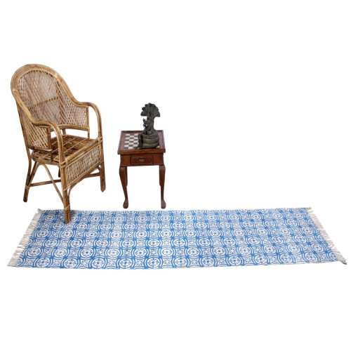 Jaipur Textile Hub Block Printed Cotton Large Natural Washable Rug Carpet Yoga Mats (BLUE)