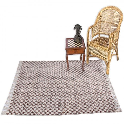 Jaipur Textile Hub Block Printed Cotton Large Natural Washable Rug Carpet Yoga Mats (COFFEE)
