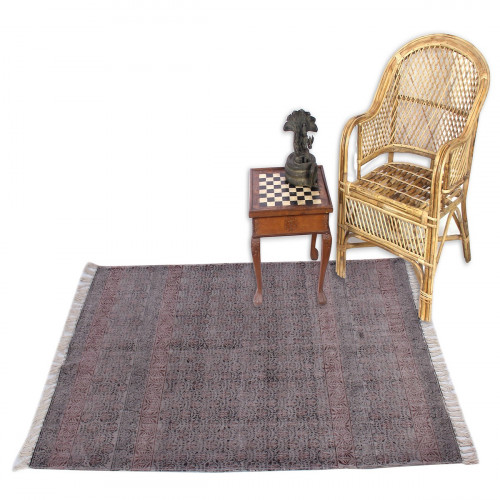 Jaipur Textile Hub Block Printed Cotton Large Natural Washable Rug Carpet Yoga Mats (DARK BROWN)