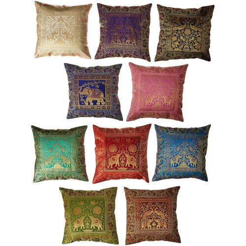 Multicolored Brocade Sofa Bed Cushion Covers Set (SET OF 10 CUSHION COVERS)