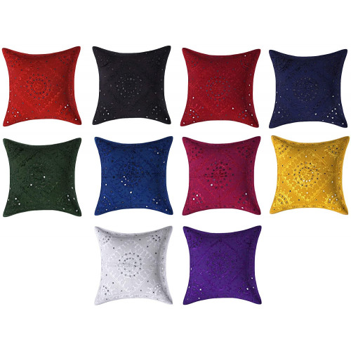 Multi Colored Decorative Throw Hand Mirror Work Cotton Cushion Covers (SET OF 10 CUSHION COVERS)