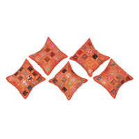 Khambadiya Patchwork Cotton Embroidery Cushion Cover Set (ORANGE)