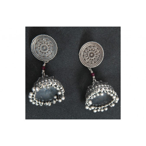 Jaipur Textile Hub Women's Traditional Silver Plated Oxidized Earrings