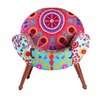 Jaipur Textile Hub Vintage Wooden Velvet Solid Wood Round Chair Chair (PINK & AQUA)