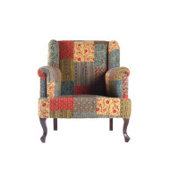 Jaipur Textile Hub Vintage Wooden Kantha Patchwork Fabric Floral Pattern Arm Chair (MULTI COLOR)