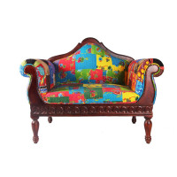 Jaipur Textile Hub Vintage Wooden Kantha Patchwork Fabric Floral Pattern Single Design Sofa (MULTI COLOR)