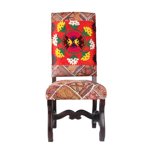 Jaipur Textile Hub Vintage Wooden Kantha Floral Embroidered Solid Plain Fabric Dining Chair RED (Set of 6 )