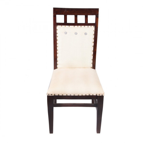 Jaipur Textile Hub Vintage Wooden Kantha Floral Embroidered Solid Plain Fabric Dining Chair CREAM (Set of 6 )