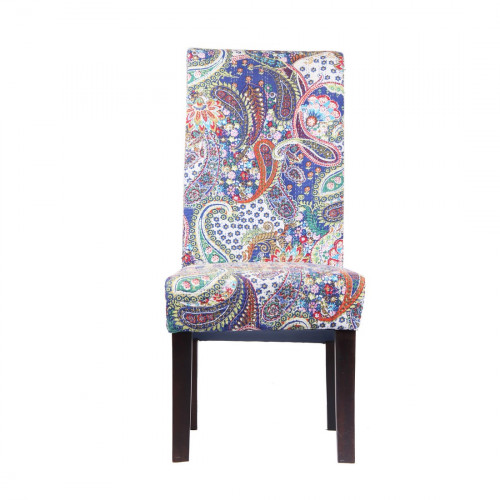 Jaipur Textile Hub Vintage Wooden Kantha Floral Embroidered Solid Plain Fabric Dining Chair BLUE (Set of 6 )