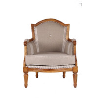 Jaipur Textile Hub Vintage Wooden Linen Solid Wood Arm Chair (TAUPE)