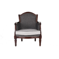 Jaipur Textile Hub Vintage Wooden Linen Solid Wood Arm Chair (BLACK)