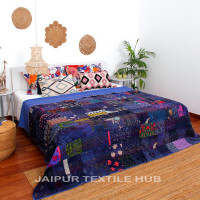 Multi Color Patchwork Cotton Kantha Quilt Bedcover Patola Quilt Throw Blanket (INDIGO)