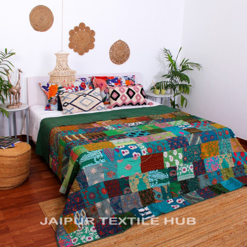 Multi Color Patchwork Cotton Kantha Quilt Bedcover Patola Quilt Throw Blanket (GREEN)