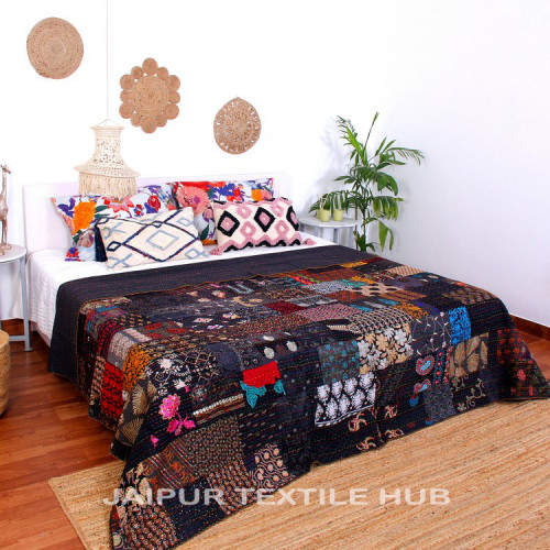 Multi Color Patchwork Cotton Kantha Quilt Bedcover Patola Quilt Throw Blanket (BLACK)