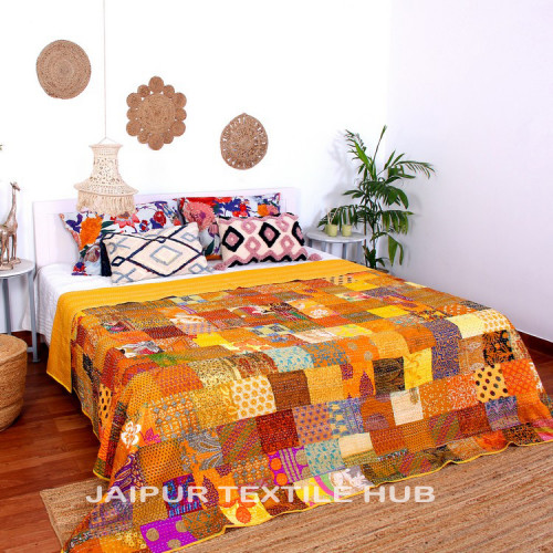 Multi Color Patchwork Cotton Kantha Quilt Bedcover Patola Quilt Throw Blanket (APRICOT)