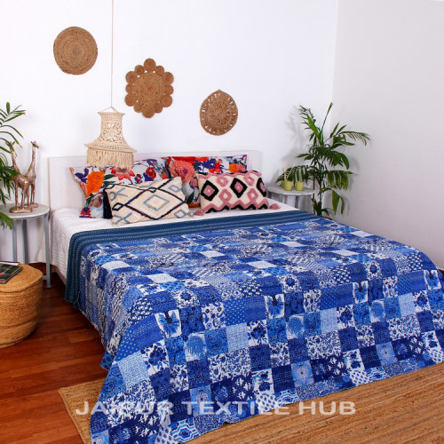 Multi Color Patchwork Cotton Kantha Quilt Bedcover Patola Quilt Throw Blanket (BLUE WHITE)