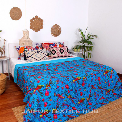 Multi Color Patchwork Cotton Kantha Quilt Bedcover Patola Quilt Throw Blanket (AZURE)