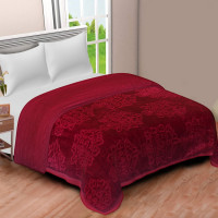 Solid Color Ultra Soft Floral Mink Heavy Winter Polyester Blanket (MAROON)
