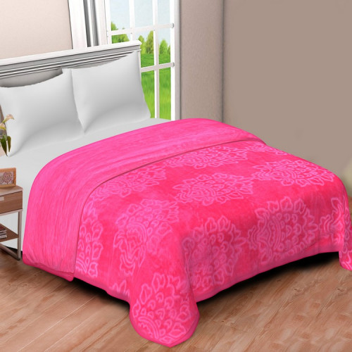 Solid Color Ultra Soft Floral Mink Heavy Winter Polyester Blanket (BABY PINK)