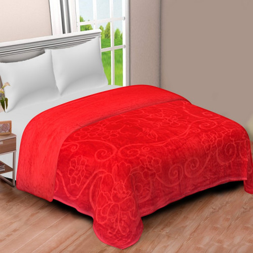 Solid Color Ultra Soft Floral Mink Heavy Winter Polyester Blanket (RED)
