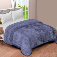 Solid Color Ultra Soft Floral Mink Heavy Winter Polyester Blanket (SLATE)