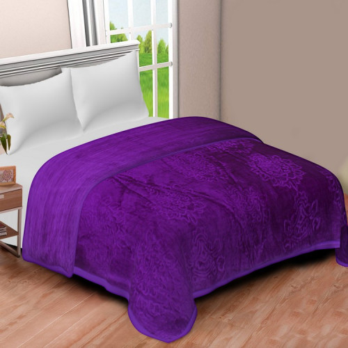Solid Color Ultra Soft Floral Mink Heavy Winter Polyester Blanket (PURPLE)