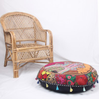 Round Embroidered Cotton Cushion Poufs Cover Without Filler (MULTICOLOR)