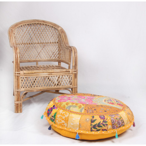 Round Embroidered Cotton Cushion Poufs Cover Without Filler(YELLOW)