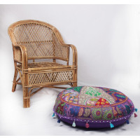 Round Embroidered Cotton Cushion Poufs Cover Without Filler (PURPLE)