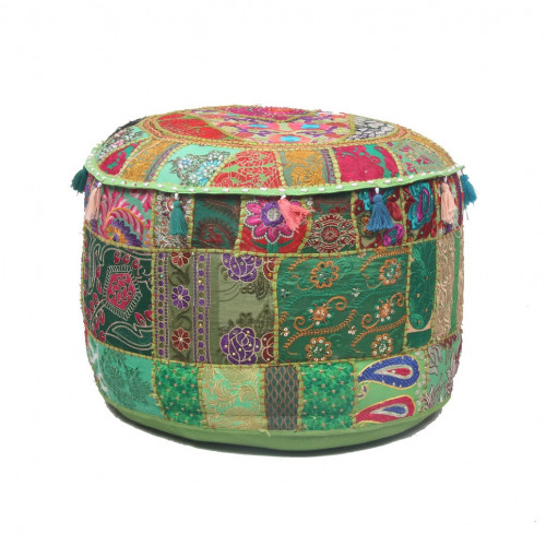 Round Embroidered Cotton Ottoman  Cushion Poufs Cover Without Filler Size-20x12x20 Inch (DARK GREEN)