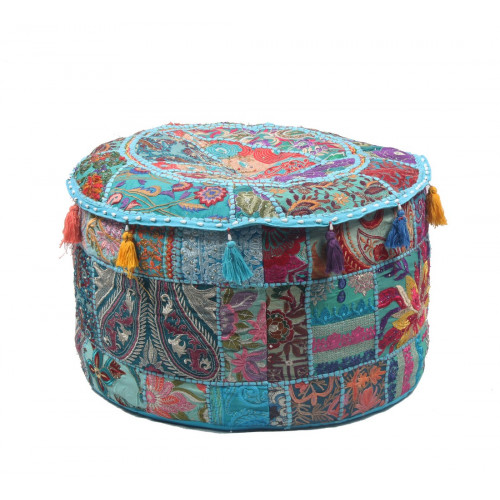 Round Embroidered Cotton Ottoman  Cushion Poufs Cover Without Filler Size-20x12x20 Inch (TURQUOISE)