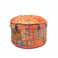 Round Embroidered Cotton Ottoman  Cushion Poufs Cover Without Filler Size-20x12x20 Inch (ORANGE)