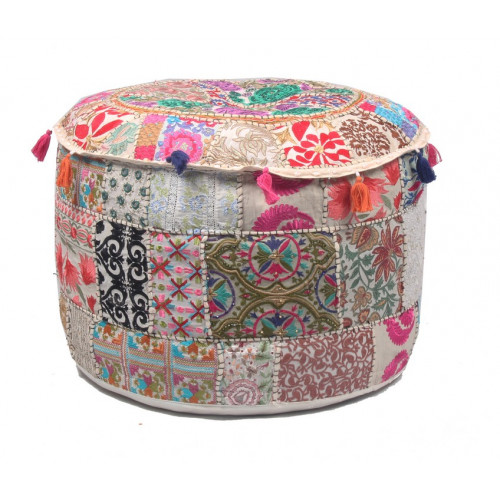 Round Embroidered Cotton Ottoman  Cushion Poufs Cover Without Filler Size-20x12x20 Inch (SILVER PINK)