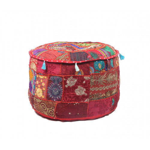 Round Embroidered Cotton Ottoman  Cushion Poufs Cover Without Filler Size-20x12x20 Inch (RED)