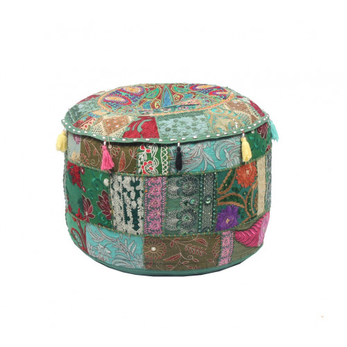 Round Embroidered Cotton Ottoman  Cushion Poufs Cover Without Filler Size-20x12x20 Inch (GREEN)