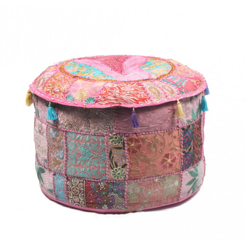 Round Embroidered Cotton Ottoman  Cushion Poufs Cover Without Filler Size-20x12x20 Inch (BABY PINK)