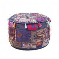 Round Embroidered Cotton Ottoman  Cushion Poufs Cover Without Filler Size-20x12x20 Inch (PURPLE)