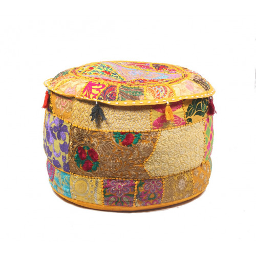 Round Embroidered Cotton Ottoman  Cushion Poufs Cover Without Filler Size-20x12x20 Inch (YELLOW)