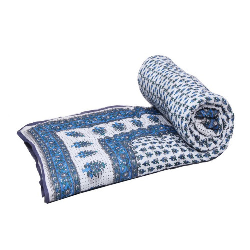 Indian Jaipuri Handmade Cotton Quilt Bed Cover Throw Blanket (SLATE)