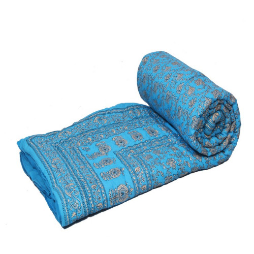 Indian Jaipuri Handmade Cotton Quilt Bed Cover Throw Blanket (AZURE)