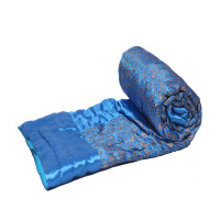 Indian Jaipuri Handmade Silk Cotton Filled Quilt Bed Cover Throw Blanket (STEEL BLUE)